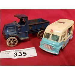 2 Vintage Toys, Cast Iron Truck And Corgi Carrier Van Toy