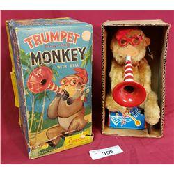 Vintage Trumpet Playing Monkey Toy
