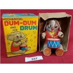 Vintage Dum-Dum & His Drum Elephant Toy