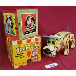 Vintage Jack In The Box & Toy Dog