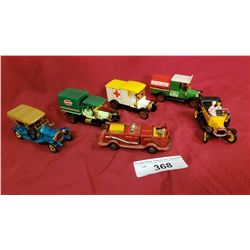 6 Small Die Cast Cars And Trucks