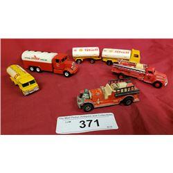 2 Shell Trucks, 1 Chevron Truck and 2 Die Cast Trucks