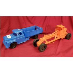 Vintage Plastic Toy Truck And Grader
