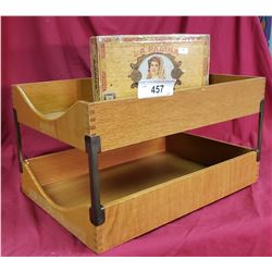 Oak Office 2 Tier Shelf And Cigar Box