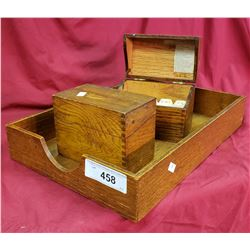 2 Oak Boxes And Oak Tray