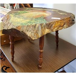 Wood Slab Table With Painted Eagle