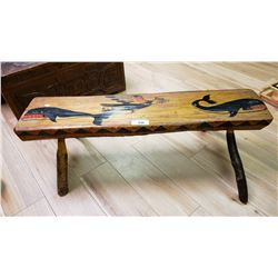 Carved Bench With Native Painting