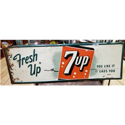 Vintage Fresh Up 7Up Sign, Painted Tin