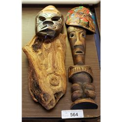 Lot Of 4 Mask Carvings