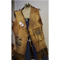 Hand Painted Vintage Native Vest With Tassels