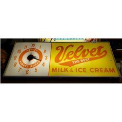 Velvet Milk And Icecream Clock And Sign