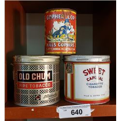 Old Chum, Sweet Cap And Gopher Cap Tins