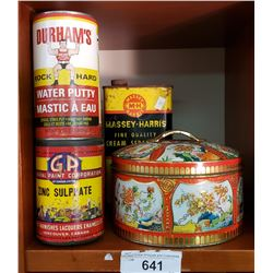4 Assorted Tins, Massey Harris, Etc..