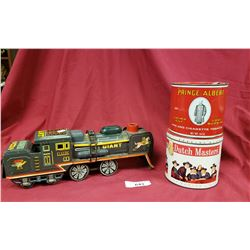 2 Tobacco Tins And Vintage Train