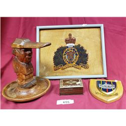 Folk Art Carved Nut Cracker And Rcmp Beaded embroidery And Inlaid Box