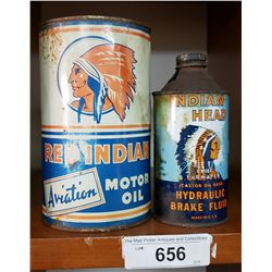 Red Indian Aviation Oil Quart + Indian Head Can