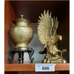 Brass Eagle And Lidded Brass Jar On Stand