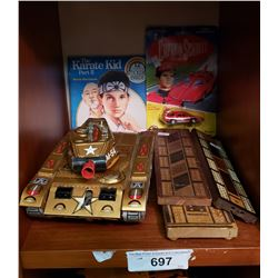 Toy Tank, Book, 3 Cribboards, One Miniature Car