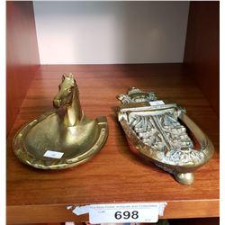 Heavy Brass Door Knocker And Brass Ash Tray