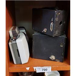 2 Box Cameras And Polaroid