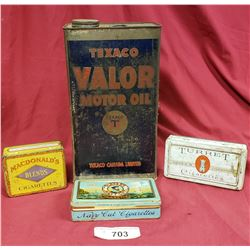 3 Assorted Tobacco Tins And Texaco Valor Motor Oil Can