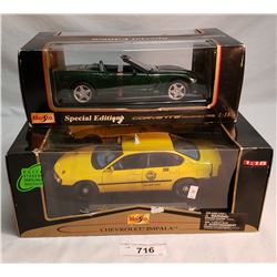 Boxed Die Cast Taxi And Corvette