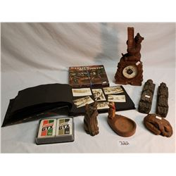 Photo Album, Castrol Cards, Wood Carvings, Western Gunfighters Miniature Box.