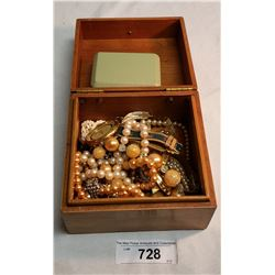 Wooden Box with Costume Jewelery