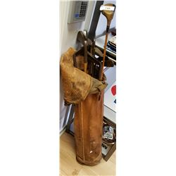 Set Of Wooden Golf Clubs With Leather Bag