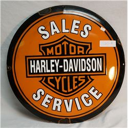 Round, Porcelain, Concaved Harley Davidson Sign