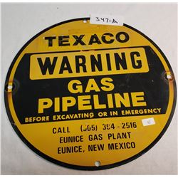 Texaco Round Vintage Pipeline Sign