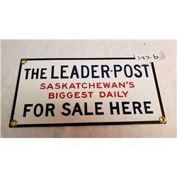 Vintage Porcelain Leader Post Sign