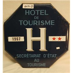 Heavy Porcelain Octagon French Hotel Sign