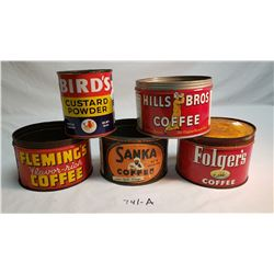 Collection Of 4 Coffee Tins And One Custard