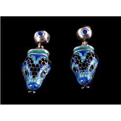 Margot de Taxco Blue Enamel Snake Earrings