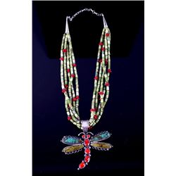 Navajo Signed Royston Turquoise & Silver Necklace