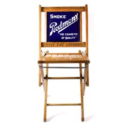 "Wooden Chair w/ ""Smoke Piedmont"" Porcelain Sign"