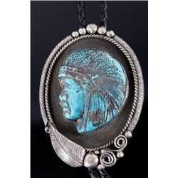 Navajo Chief's Bust Carved Turquoise Bolo Tie
