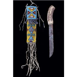 Arapaho Fully Beaded Sheath & Trail Knife c. 1880-