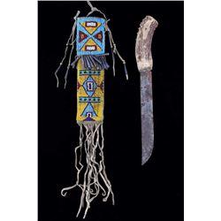 Arapaho Fully Beaded Sheath & Trail Knife c. 1880-