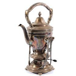 Monogrammed Gorham Tea Pot with Burner & Stand