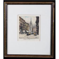 Austrian City Street Robert Kasimir Color Etching