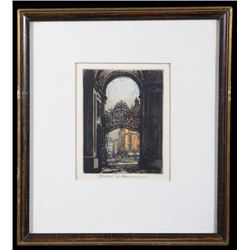 Arched Gateway Colored Etching by Robert Kasimir