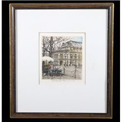Vienna City Street Robert Kasimir Colored Etching