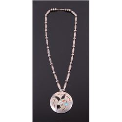 Navajo Signed Silver Inlaid Necklace