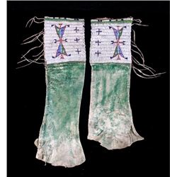 Sioux Fully Beaded & Painted Leggings circa 1870