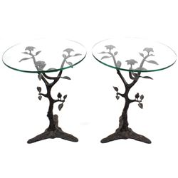 Ornate Cast Iron Glass Top End Table Set