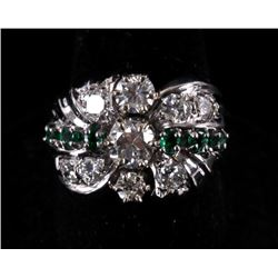 Pre-1920 Art Deco Diamond & Emerald 14K Gold Ring