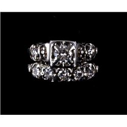 Art Deco Platinum Diamond Wedding Ring Set