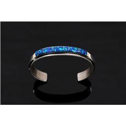 Fran Yazzie Navajo Inlaid Blue Opal Sterling Cuff